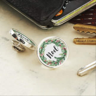 Christmas watercolor wreath lapel pin