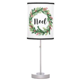 Christmas watercolor wreath table lamp