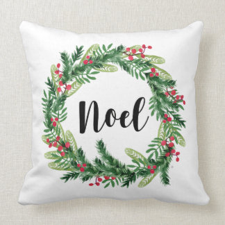 Christmas watercolor wreath throw pillow
