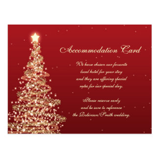 Christmas Wedding Accommodation Red Gold Postcard
