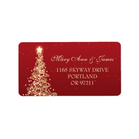 Christmas Wedding Address Red Gold Label