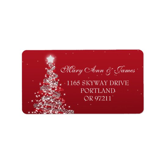 Christmas Wedding Address Red Silver