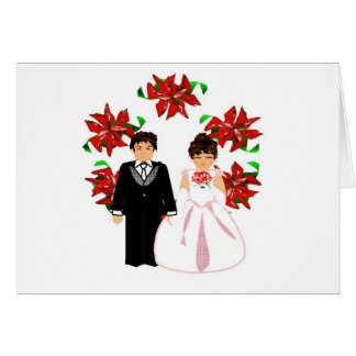 Christmas Wedding Couple I With Wreath Note Card