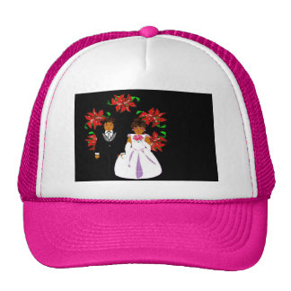 Christmas Wedding Couple In Pink Round Wreath Hats