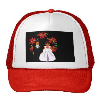 Christmas Wedding Couple In Red Round Wreath Trucker Hat