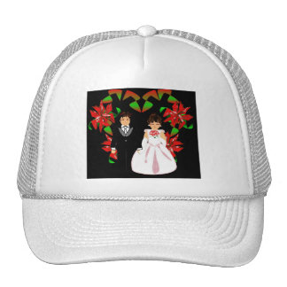 Christmas Wedding Couple In White Heart Wreath I Hat