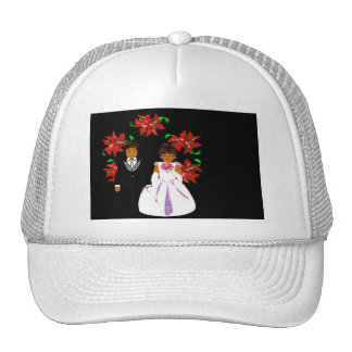 Christmas Wedding Couple In White Round Wreath Mesh Hats