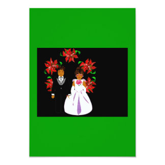 Christmas Wedding Couple With Wreath Green Black Announcements