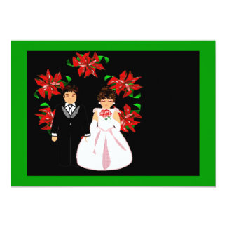 Christmas Wedding Couple With Wreath Green Pink Invite