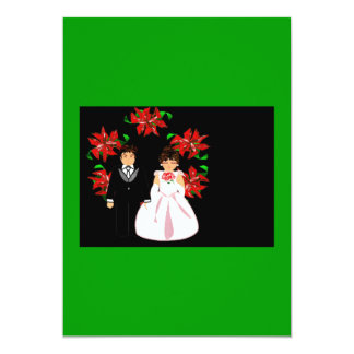 Christmas Wedding Couple With Wreath Green Purple Personalized Announcement
