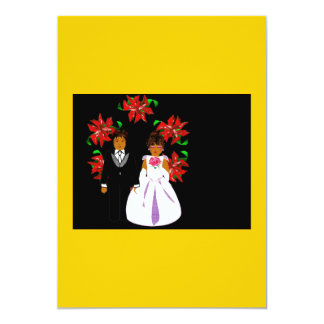 Christmas Wedding Couple With Wreath In Gold Black Personalized Invites