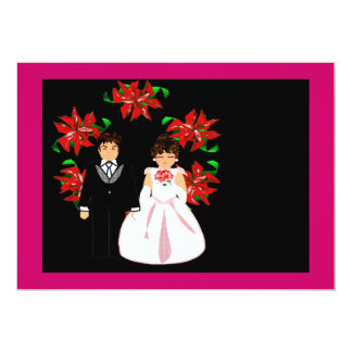 """Christmas Wedding Couple With Wreath In Pink Red 5"""" X 7"""" Invitation Card"""