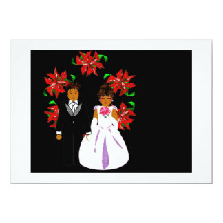 Christmas Wedding Couple With Wreath In White Invites