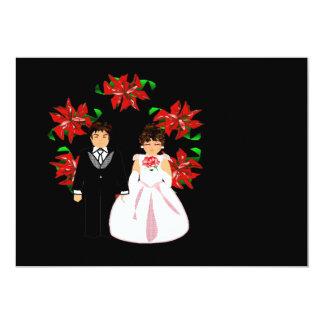 "Christmas Wedding Couple With Wreath 5"" X 7"" Invitation Card"