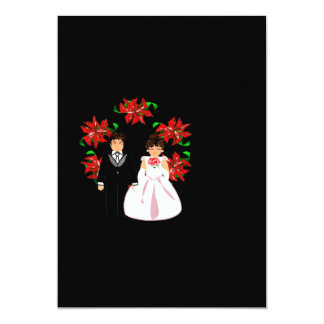 "Christmas Wedding Couple With WreathIn Black 5"" X 7"" Invitation Card"