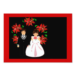 Christmas Wedding Couple Wreath In Red Purple Invitations