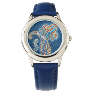 Christmas wedding ornament. Stylish paisley design Wrist Watches