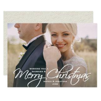 Christmas Wedding Photo Newly Married Couple Card