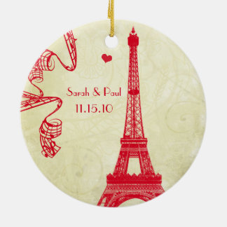 Christmas Wedding Photo with Eiffel Tower Ceramic Ornament