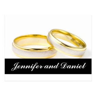 Christmas Wedding Save the Date Gold Rings Card Postcard