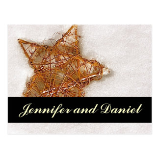 Christmas Wedding Save the Date Snow Star Card Postcard