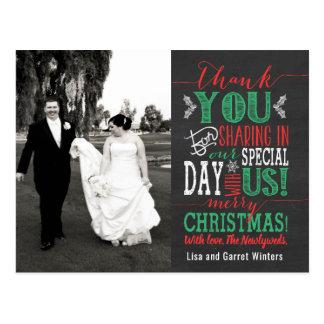 Christmas Wedding Thank You Post Card