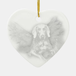 CHRISTMAS WEIMARANER ANGEL CERAMIC ORNAMENT