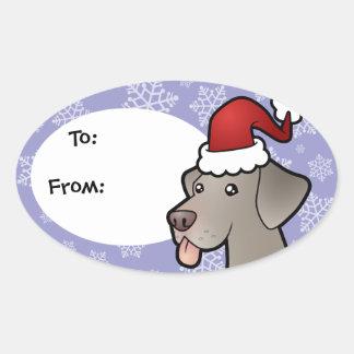 Christmas Weimaraner Oval Sticker