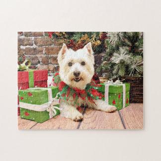 Christmas - West Highland Terrier - Abby Jigsaw Puzzle