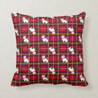 Christmas Westie Plaid Pillow