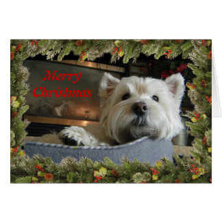 Christmas Westie with Garland Photo Greeting Card