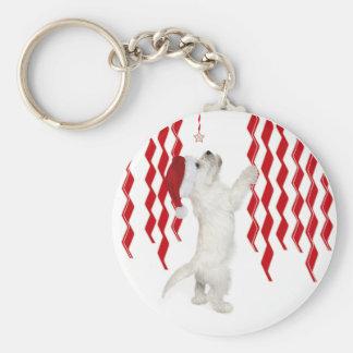 Christmas Westie Zigzags Keychain