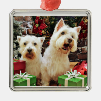 Christmas - Westies - Bailey and Callie Silver-Colored Square Ornament