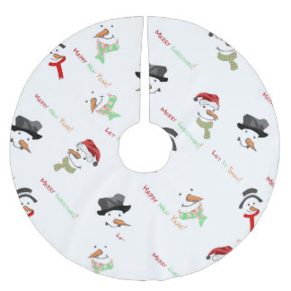 Christmas Whimsical Snowman Pattern Brushed Polyester Tree Skirt