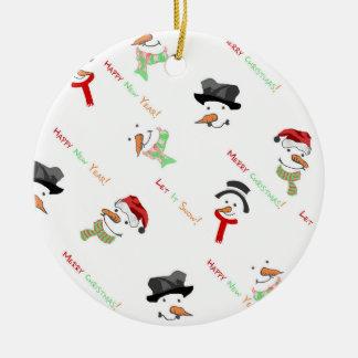 Christmas Whimsical Snowman Pattern Ceramic Ornament