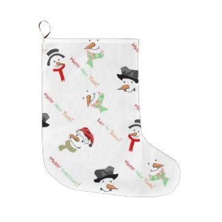 Christmas Whimsical Snowman Pattern Large Christmas Stocking