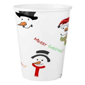 Christmas Whimsical Snowman Pattern Paper Cup