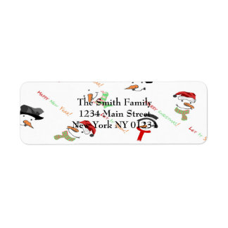 Christmas Whimsical Snowman Pattern Return Address Label