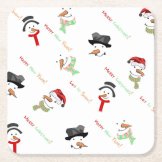 Christmas Whimsical Snowman Pattern Square Paper Coaster