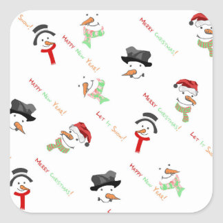 Christmas Whimsical Snowman Pattern Square Sticker