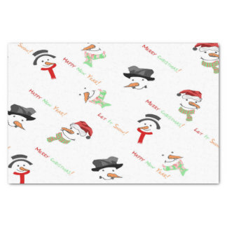 Christmas Whimsical Snowman Pattern Tissue Paper