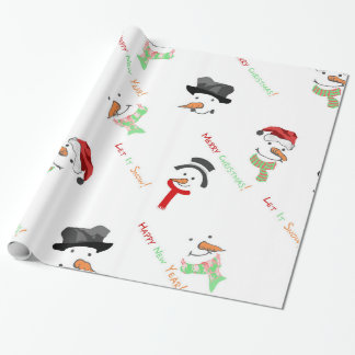 Christmas Whimsical Snowman Pattern Wrapping Paper