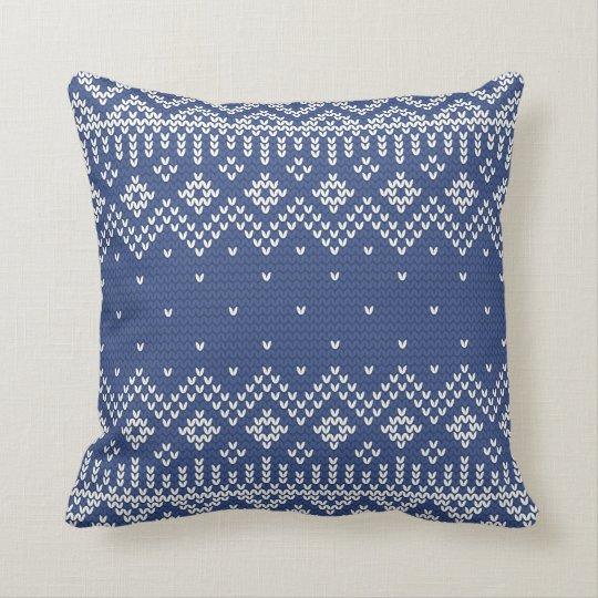 Christmas White & Blue Fair Isle Knitting Pattern Throw Pillow