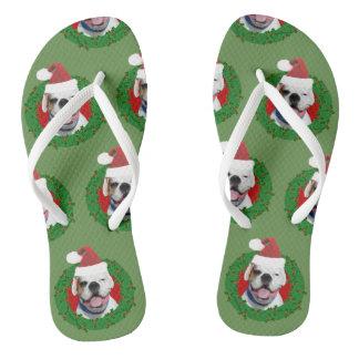 Christmas White Boxer dog flip flops