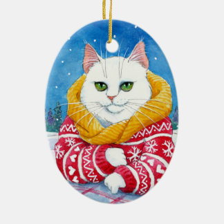 Christmas White Cat ornament