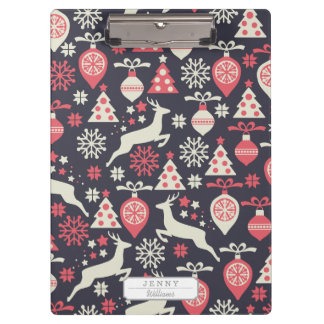 Christmas White Deers and Trees on Blue Pattern Clipboards