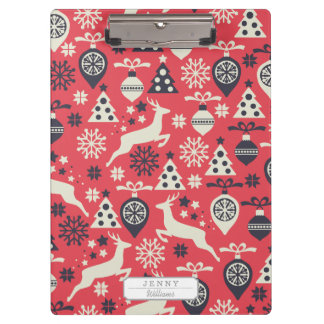 Christmas White Deers and Trees on Pink Pattern Clipboard