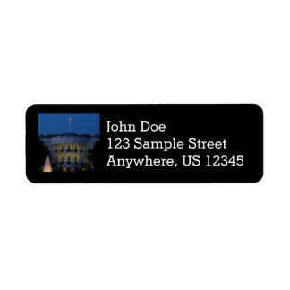 Christmas White House at Night in Washington DC Return Address Label