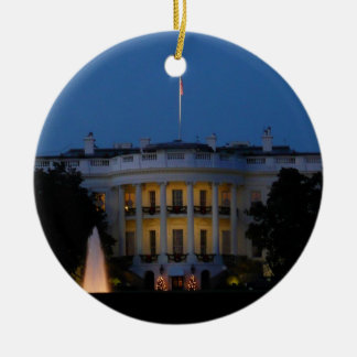 Christmas White House at Night in Washington DC Round Ceramic Ornament