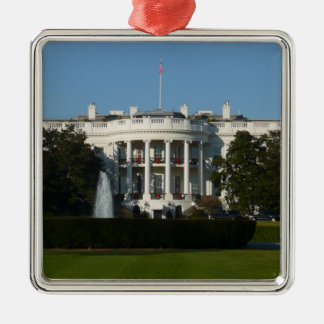 Christmas White House for Holidays Washington DC Silver-Colored Square Ornament